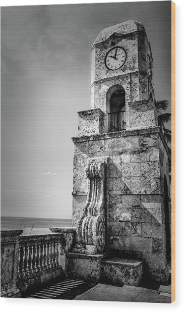 Palm Beach Clock Tower In Black And White Wood Print