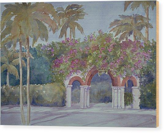 Palm Beach Gates Wood Print