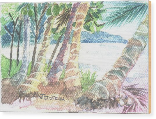 Wood Print featuring the painting Palm Beach by Jane Croteau