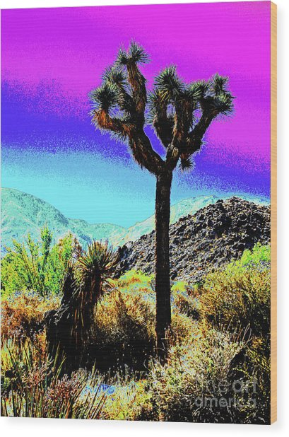 Palm Desert Cactus Wood Print