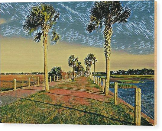 Palm Parkway Wood Print