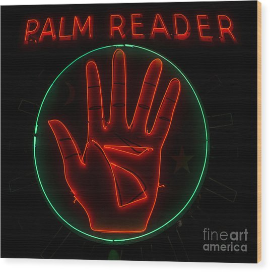 Palm Reader Neon Sign Wood Print