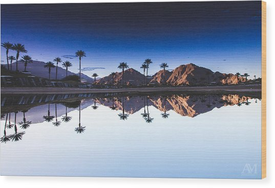 Palm Springs Reflection Wood Print