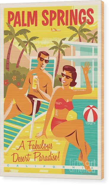 Palm Springs Poster - Retro Travel Wood Print