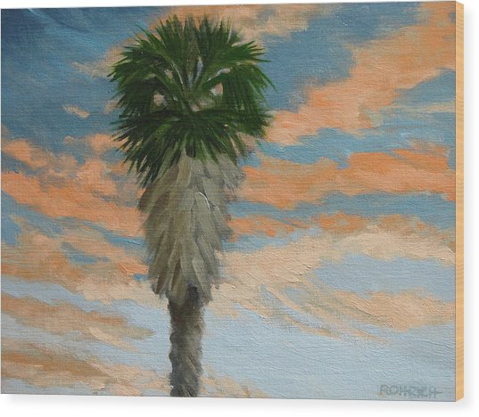 Palm Sunrise Wood Print by Robert Rohrich
