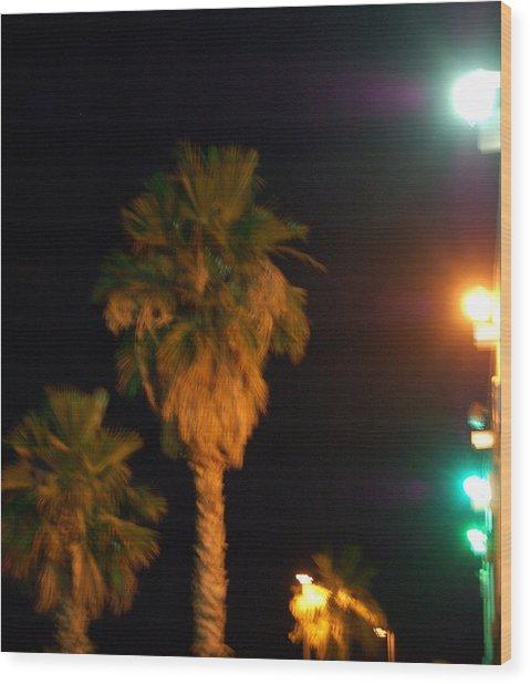 Palm Tree Glow Wood Print by Heather S Huston