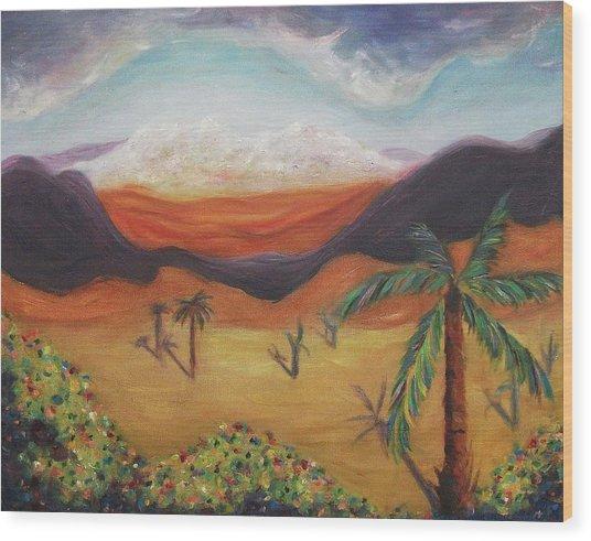 Palm Tree In Desert Wood Print