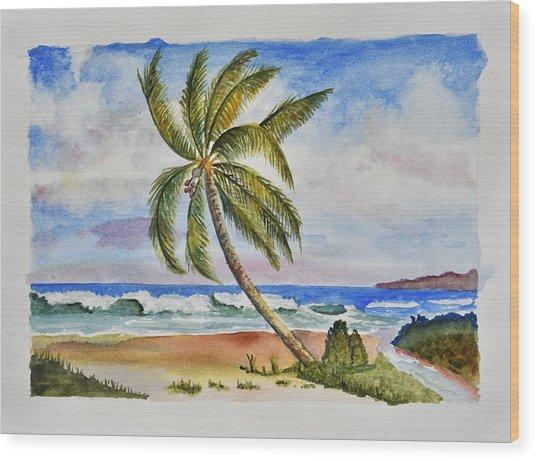 Palm Tree Ocean Scene Wood Print