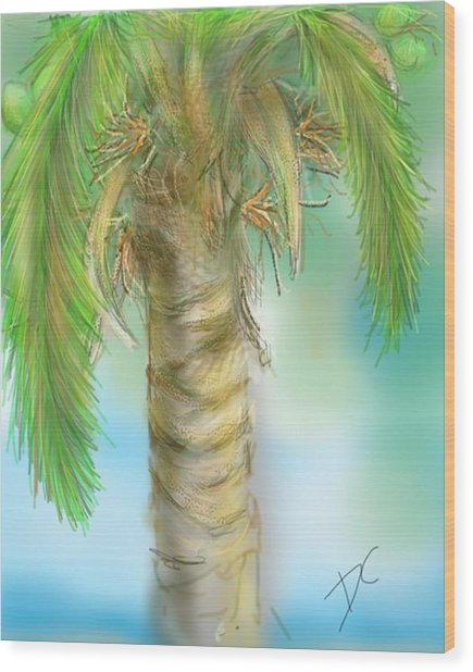 Wood Print featuring the digital art Palm Tree Study Two by Darren Cannell