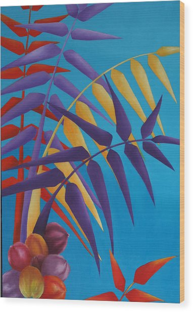 Palm Tree With Coconuts 1 Wood Print