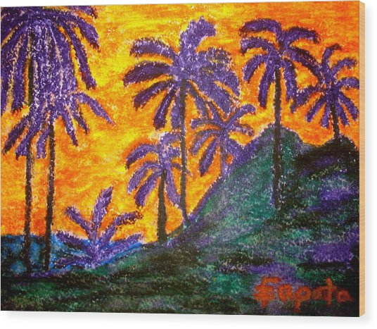 Palm Trees In Paradise Wood Print