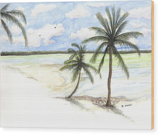 Wood Print featuring the painting Palm Trees On The Beach by Darren Cannell