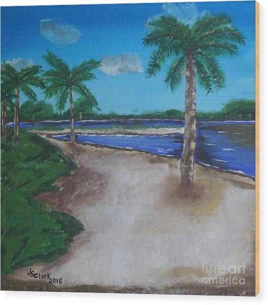 Palm Trees On The Beach Wood Print