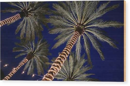 Palm Trees Wrapped In Lights Wood Print