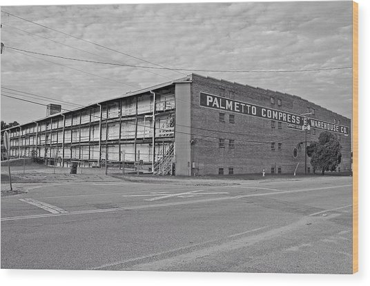 Palmetto Compress Warehouse Bw Wood Print