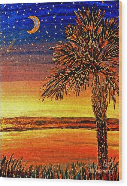 Palmetto Sunset  Wood Print