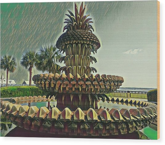 Palms And Pineapples Wood Print