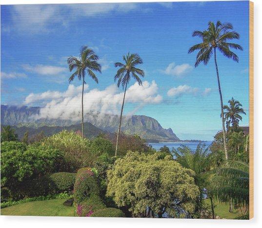 Palms At Hanalei Wood Print