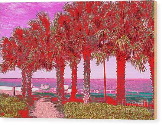 Palms In Red Wood Print