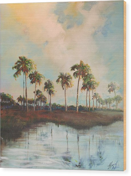 Palms Of Course Wood Print by Michele Hollister - for Nancy Asbell
