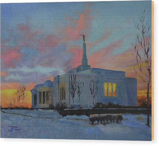 Palmyra Temple At Sunset Wood Print