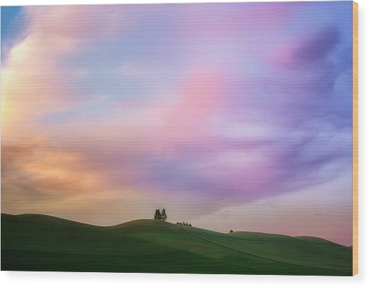 Palouse Cirrus Rainbow Wood Print