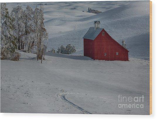 Palouse Saltbox Barn Winter Wood Print