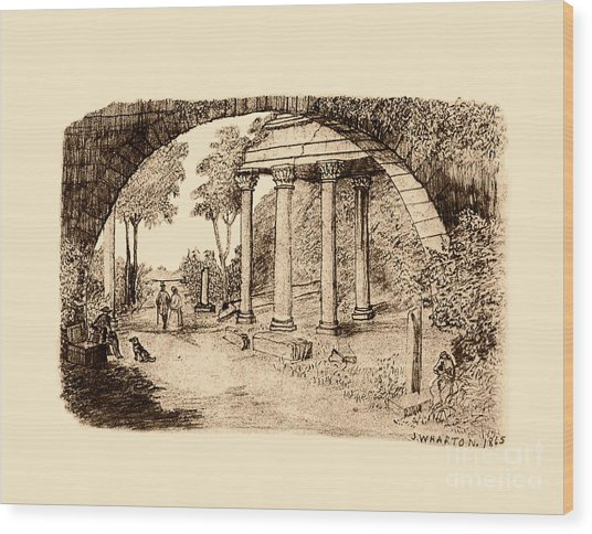 Pan Looking Upon Ruins Wood Print