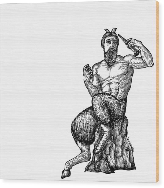 Pan Satyr Wood Print by Karl Addison