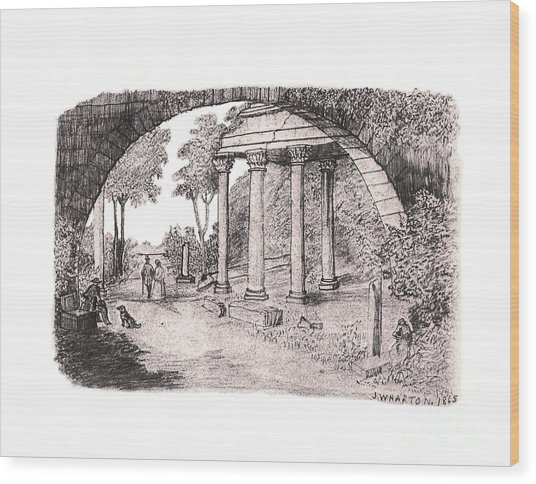 Pan Watching Ruins Of The Past Wood Print