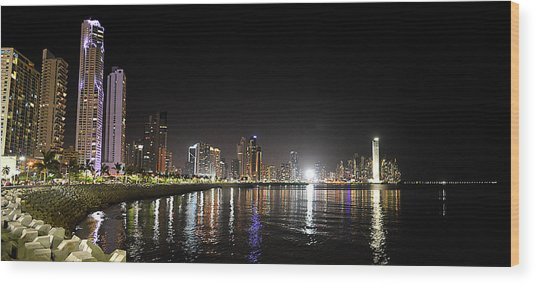 Panama City Night Wood Print