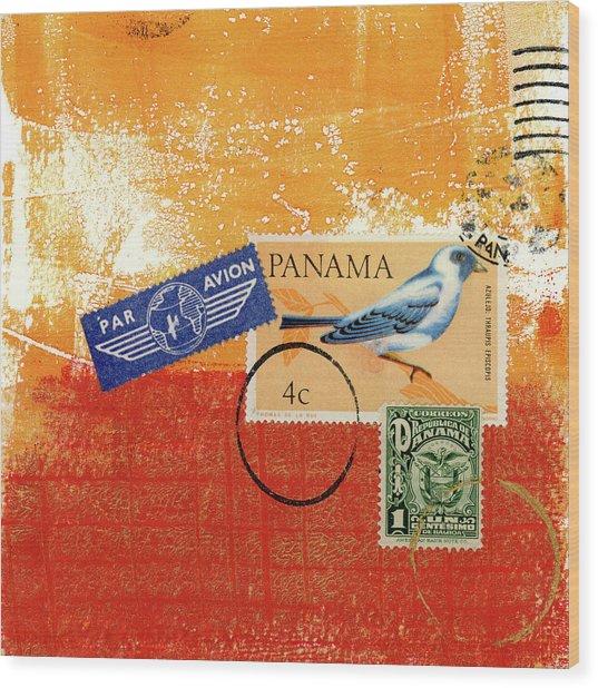 Panama Postal Collage Wood Print