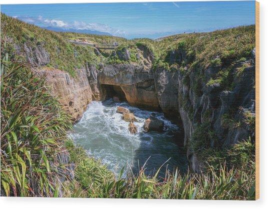 Pancake Rocks New Zealand Wood Print