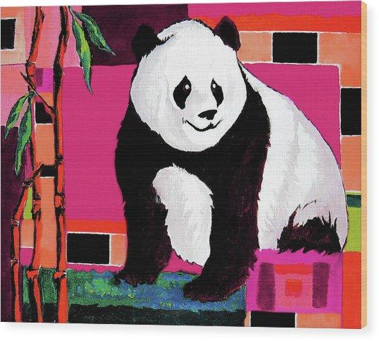 Panda Abstrack Color Vision  Wood Print