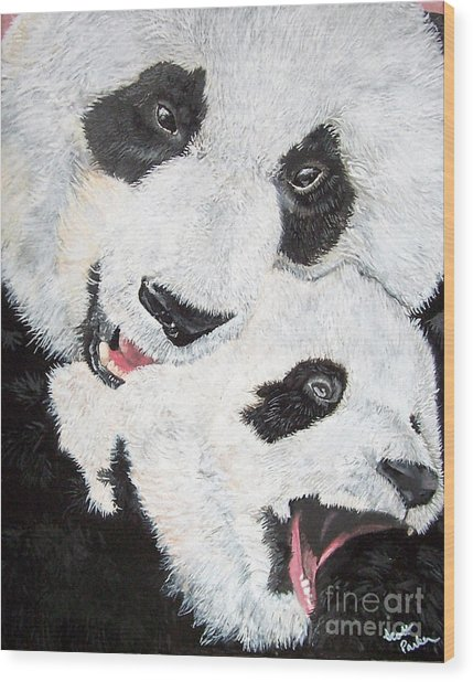 Panda And Baby Wood Print