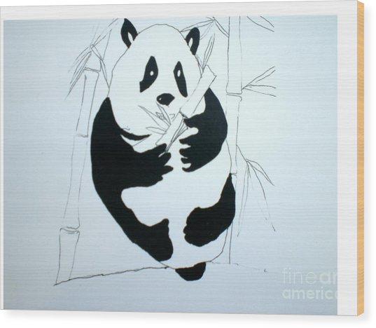 Panda Bear And Bamboo Wood Print by Hal Newhouser