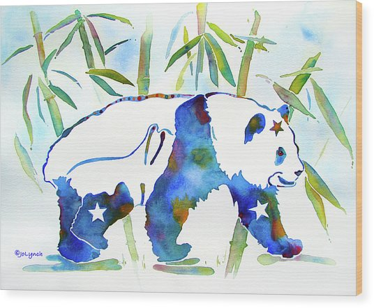 Panda Bear With Stars In Blue Wood Print