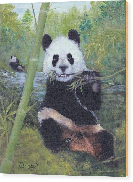 Panda Buffet Wood Print