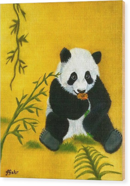 Panda Power Wood Print