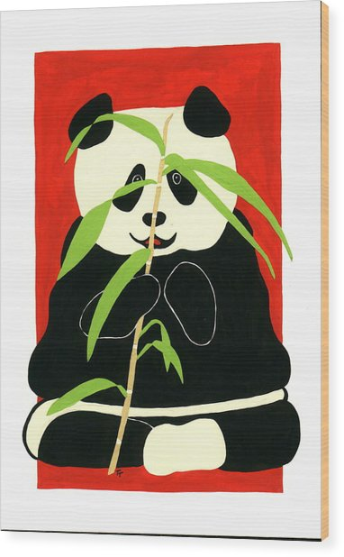 Panda With Bamboo Wood Print