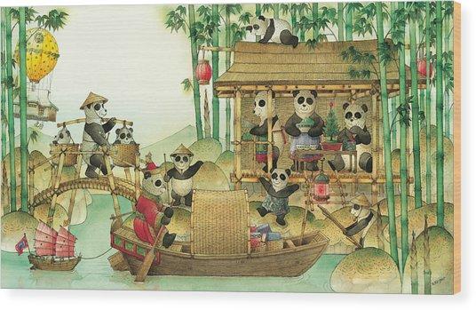 Pandabears Christmas 03 Wood Print