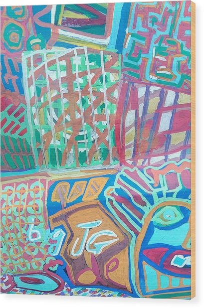 Panel Of Hand Painted Mondeo Wood Print