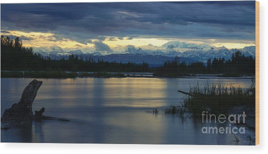 Pano Alaska Midnight Sunset Wood Print