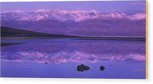 Panorama Badwater And The Panamint Range At Sunrise Death Valley Wood Print