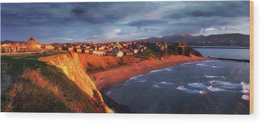 Panorama Of Aixerrota Sunset Wood Print