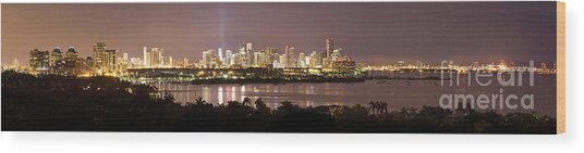 Panorama Of Miami At Night Wood Print by Matt Tilghman