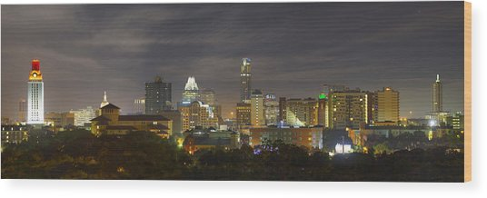 Panorama Of The Austin Skyline On A September Morning Wood Print