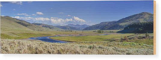 Panorama Of The Lamar Valley Wood Print