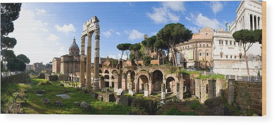 Panorama Of The Roman Forum Wood Print