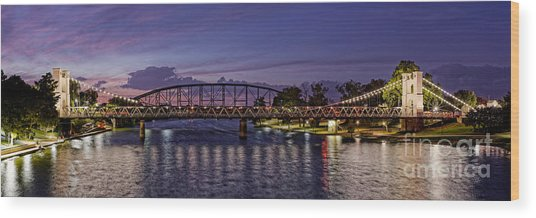 Panorama Of Waco Suspension Bridge Over The Brazos River At Twilight - Waco Central Texas Wood Print